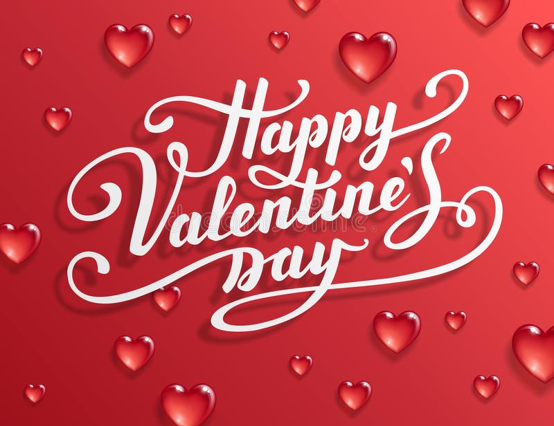 Happy Valentine`s Day text. Calligraphic Lettering. Valentine s day greeting card template. Vector illustration royalty free illustration