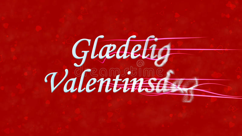 Happy Valentine's Day text in Norwegian Glaedelig Valentinsdag turns to dust from right on red background. Happy Valentine's Day text in Norwegian Glaedelig royalty free illustration