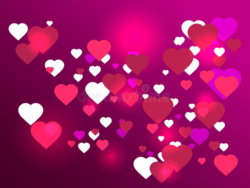 Happy Valentine`s day, 14th of February. Bright hearts on background with gradient, bokeh effect. Vector. Illustration vector illustration