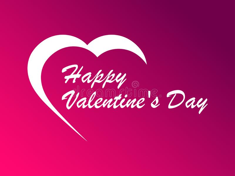 Happy Valentine`s day, 14th of February. Greeting card with Heart contour on a gradient background. Vector. Illustration stock illustration