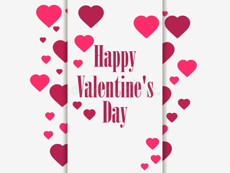 Happy Valentine`s day, 14th of February. Greeting card with hearts and ribbon. Vector. Illustration vector illustration
