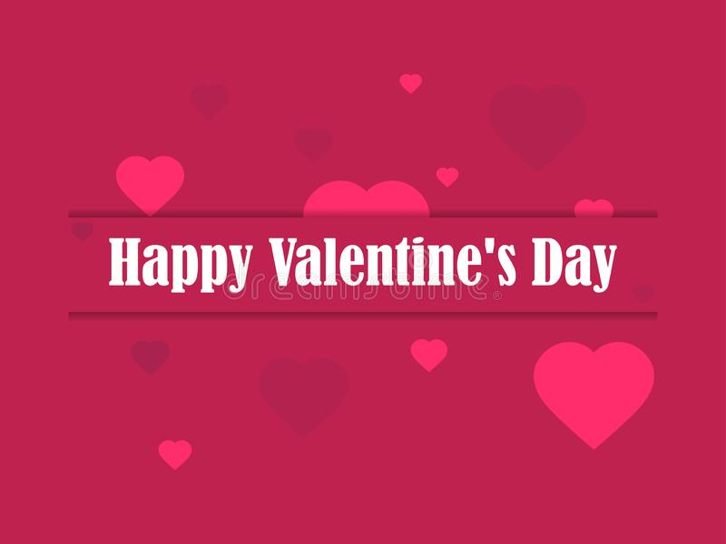 Happy Valentine`s day, 14th of February. Greeting card with hearts and ribbon. Vector. Illustration stock illustration