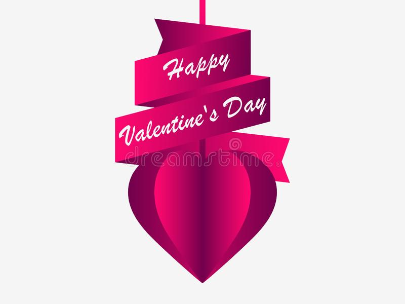 Happy Valentine`s day, 14th of February. Greeting card with hearts and ribbon. Vector. Illustration royalty free illustration