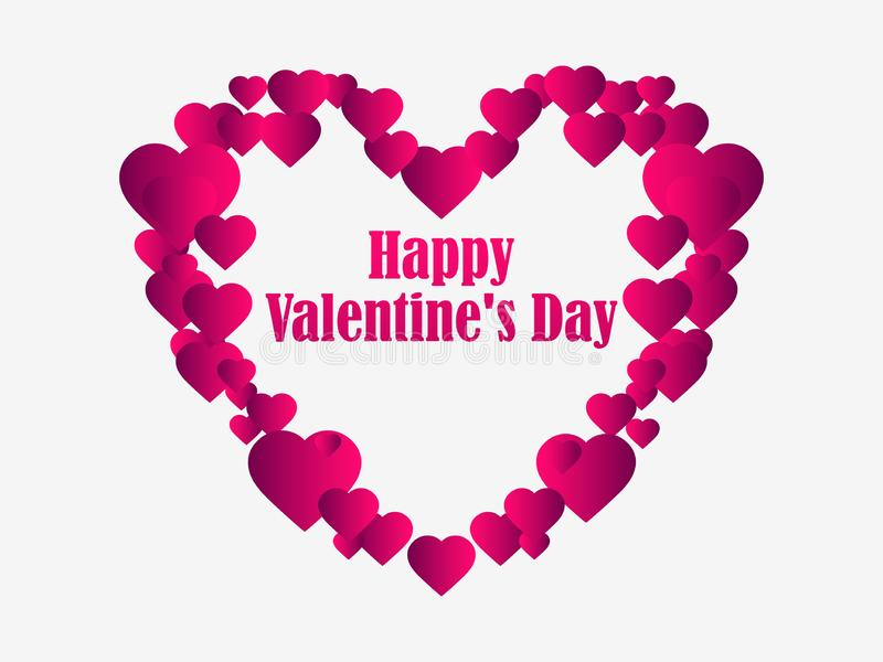 Happy Valentine`s day, 14th of February. Greeting card with hearts. Vector. Illustration vector illustration