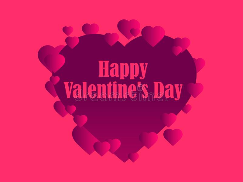 Happy Valentine`s day, 14th of February. Greeting card with hearts. Vector. Illustration royalty free illustration