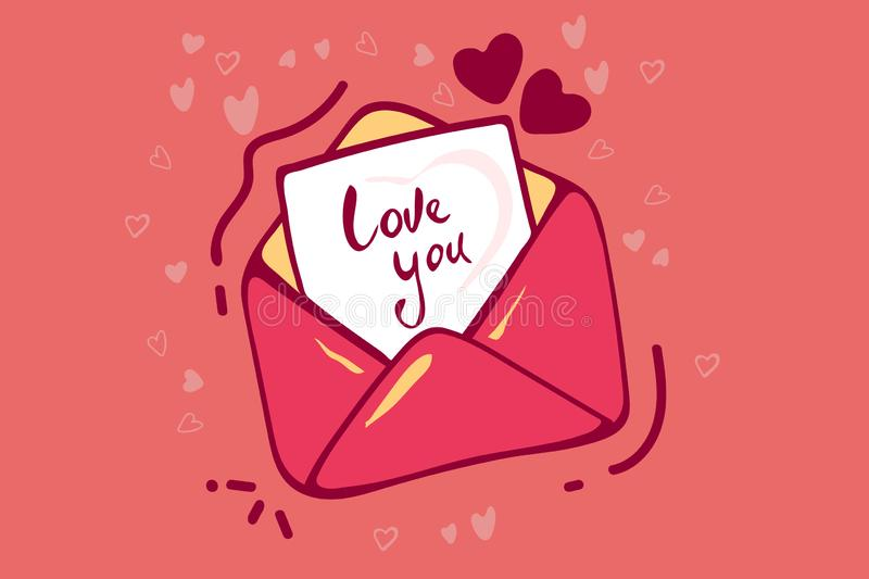 Happy Valentine`s day, usage for email newsletters, web banners, headers, blog posts, print. Greeting card for for stock illustration