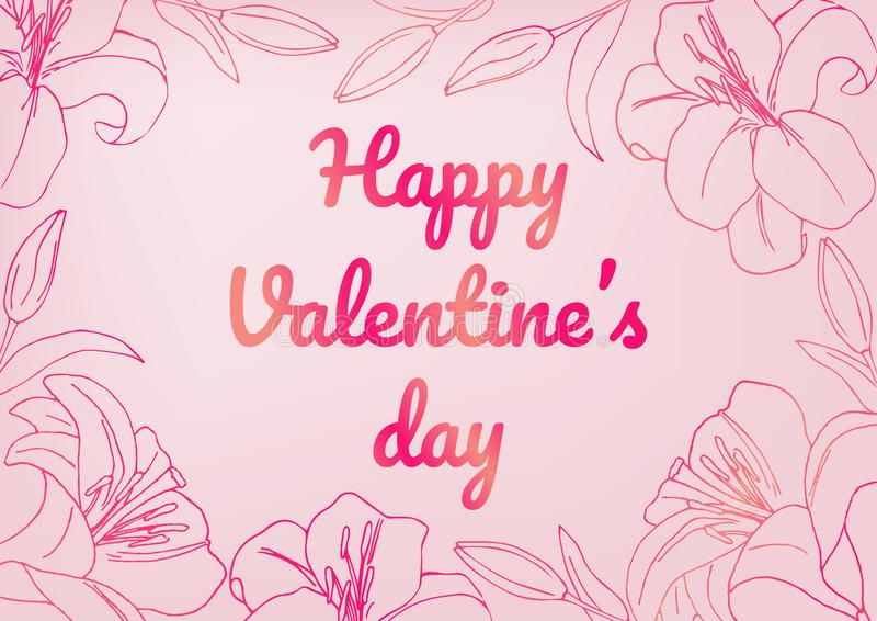 Happy Valentine`s day! Valentine`s day greeting card template. Vector. Light pink background with dark pink elements with a writte royalty free illustration