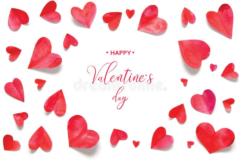 Valentine`s Day greeting card. Watercolor hearts royalty free stock photos