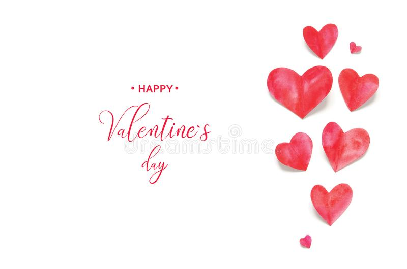 Valentine`s Day greeting card. Watercolor hearts. Happy Valentine`s Day. Valentine`s Day greeting card. Watercolor hearts royalty free stock photo