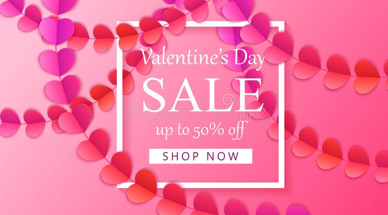 Happy Valentine`s day vector background with red and pink hearts. Paper art garlands with colorful hearts, vector illustration