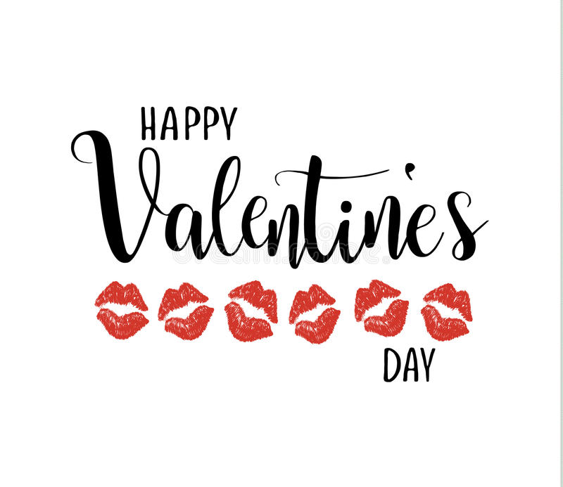 Happy valentine`s day vector calligraphy lettering. Kissing lips stock illustration