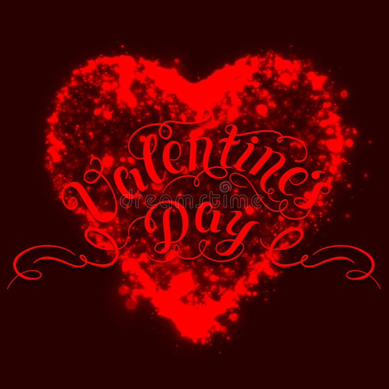 Happy Valentine`s day vector card. Shining lights from heart shape on the dark red background. vector illustration