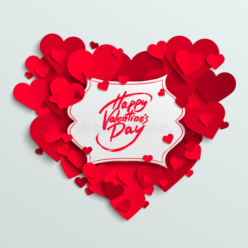 Happy Valentine's Day vector greeting card, brush pen lettering on white banner. Paper hearts background royalty free illustration