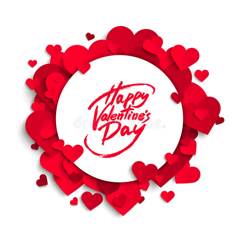 Happy Valentine's Day vector greeting card, brush pen lettering on white banner. Paper hearts background vector illustration