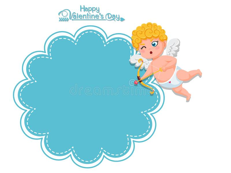 Happy Valentine`s Day. Vector Greeting Card cupid cartoon character with bow and arrow. decorative element on Valentine. posters,. Gift tags and labels stock illustration