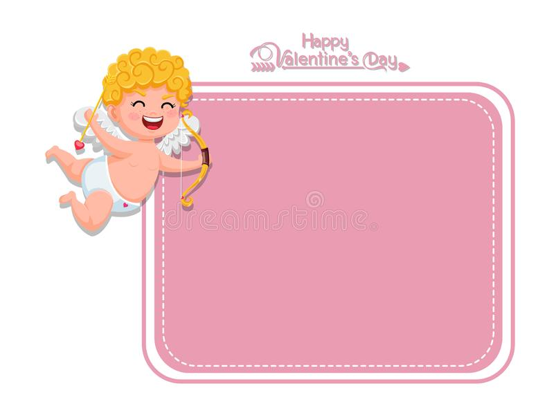 Happy Valentine`s Day. Vector Greeting Card cupid cartoon character with bow and arrow. decorative element on Valentine. posters,. Gift tags and labels vector illustration