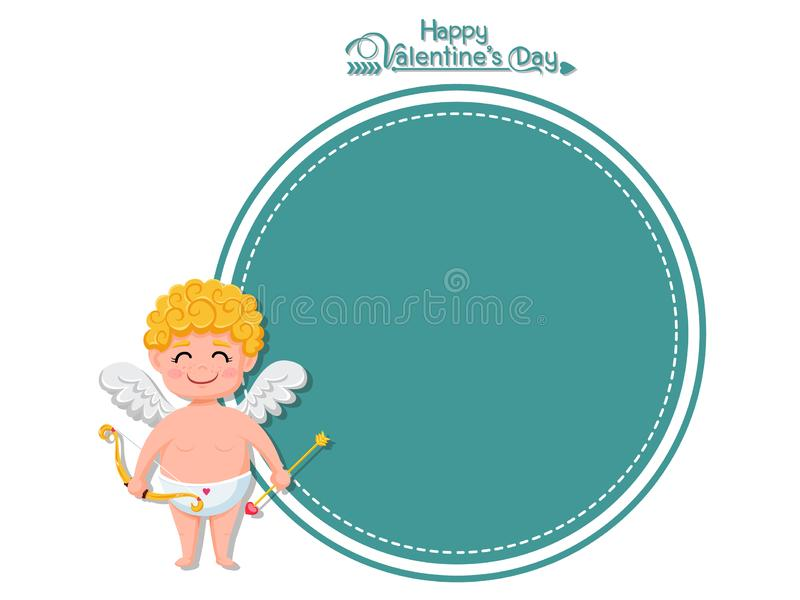 Happy Valentine`s Day. Vector Greeting Card cupid cartoon character with bow and arrow. decorative element on Valentine. posters,. Gift tags and labels royalty free illustration