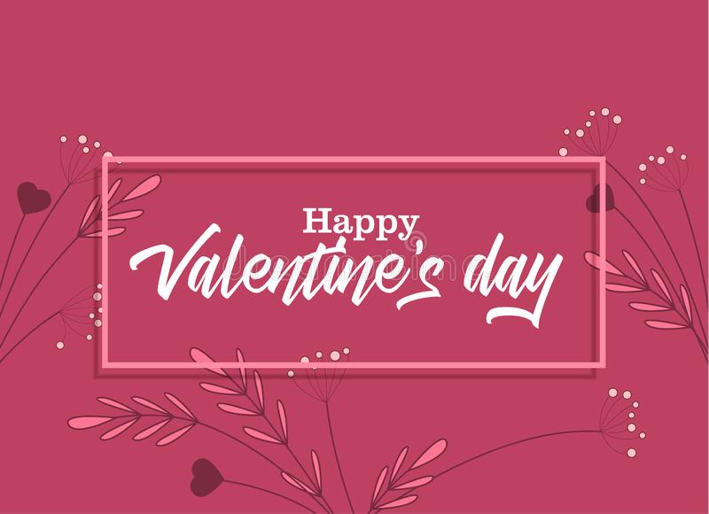 Happy Valentine s Day. Vector illustration of flowers on a colorful background. Happy Valentine s Day royalty free illustration