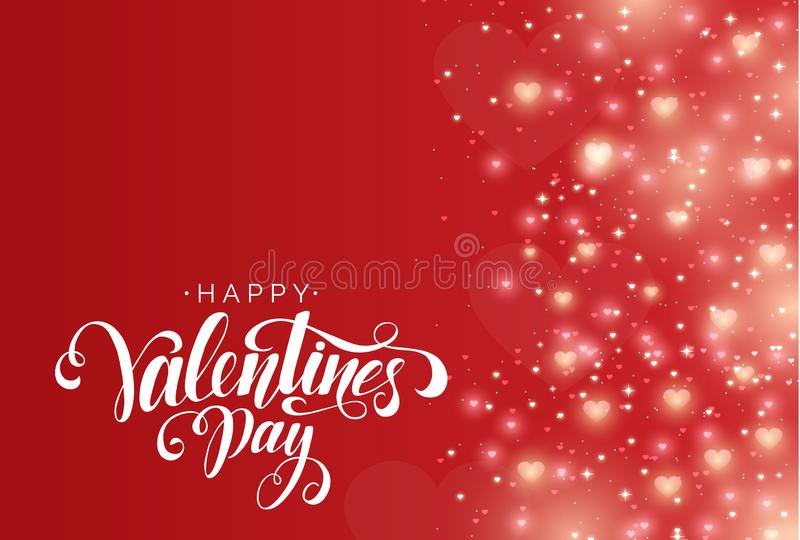 Happy Valentine`s Day Vector Lettering on Abstract Red Background with Shiny Hearts. Festive Sparkling Glitter Background royalty free illustration