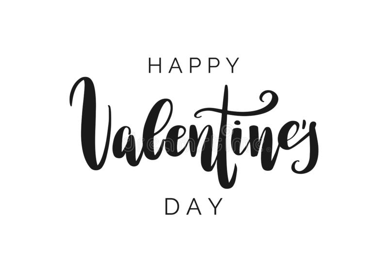 Happy Valentine`s Day vector lettering isolated on white background. Hand written greeting card. vector illustration