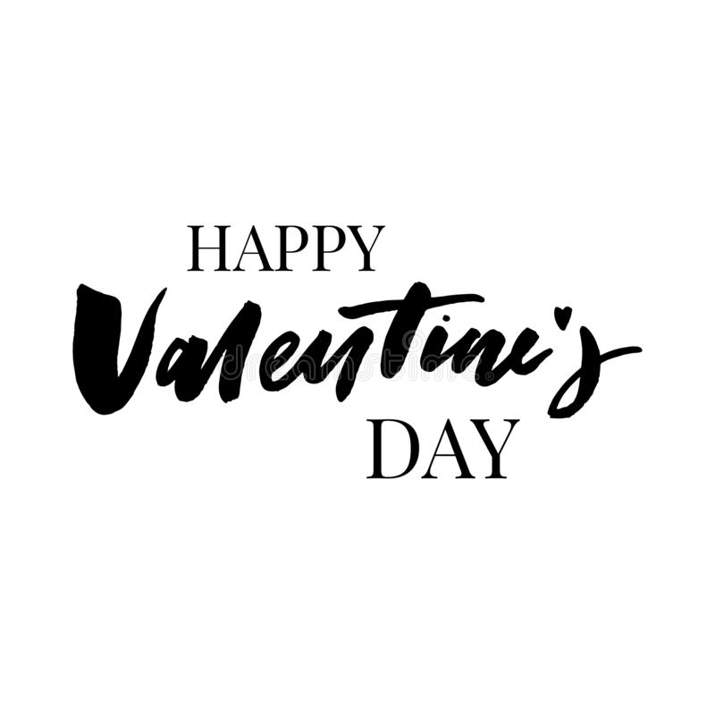Happy Valentine's Day vector lettering on white background. Hand written design element for card, poster, banner. Modern vector illustration