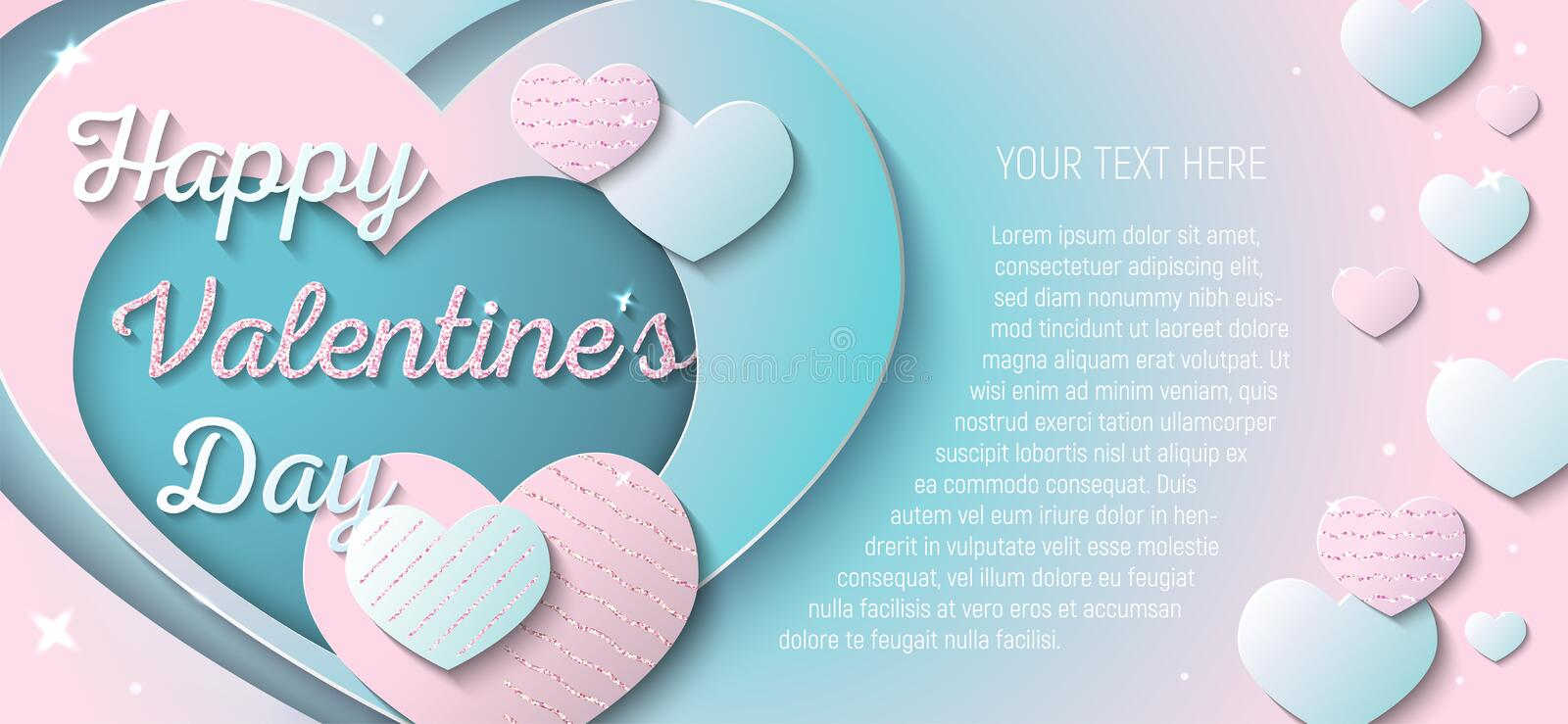 Happy Valentine`s Day. Vector template for greeting card, invitation, banner or flyer. Paper cut style. Pink and blue hearts with pink glitter royalty free illustration