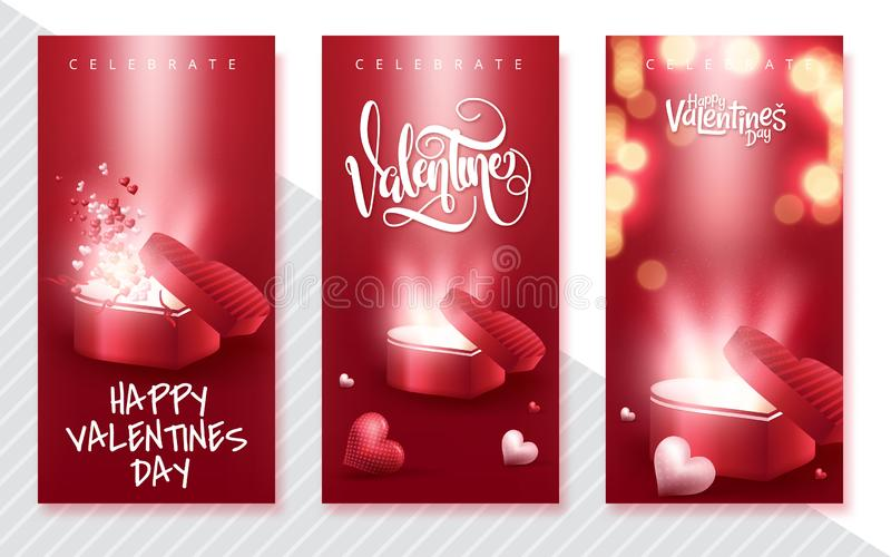 Happy Valentine's Day vertical banners set. Holiday brochure design, greeting cards, love creative concept, gift voucher, stock illustration