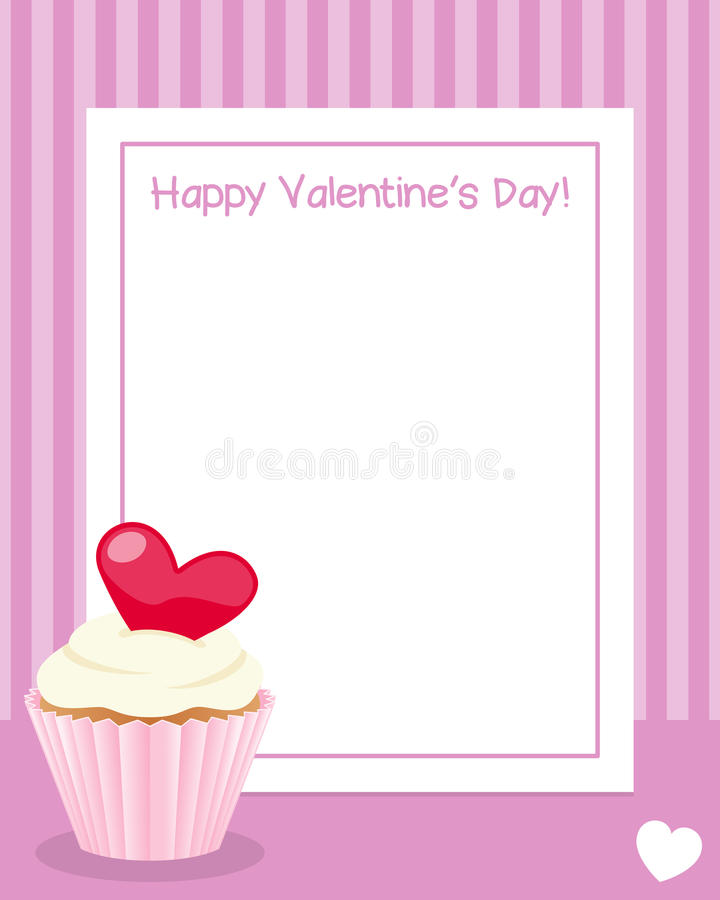 Happy Valentine`s Day Vertical Frame. St. Valentines or Saint Valentine s Day vertical photo frame with a white heart and a sweet cupcake, on pink background stock illustration