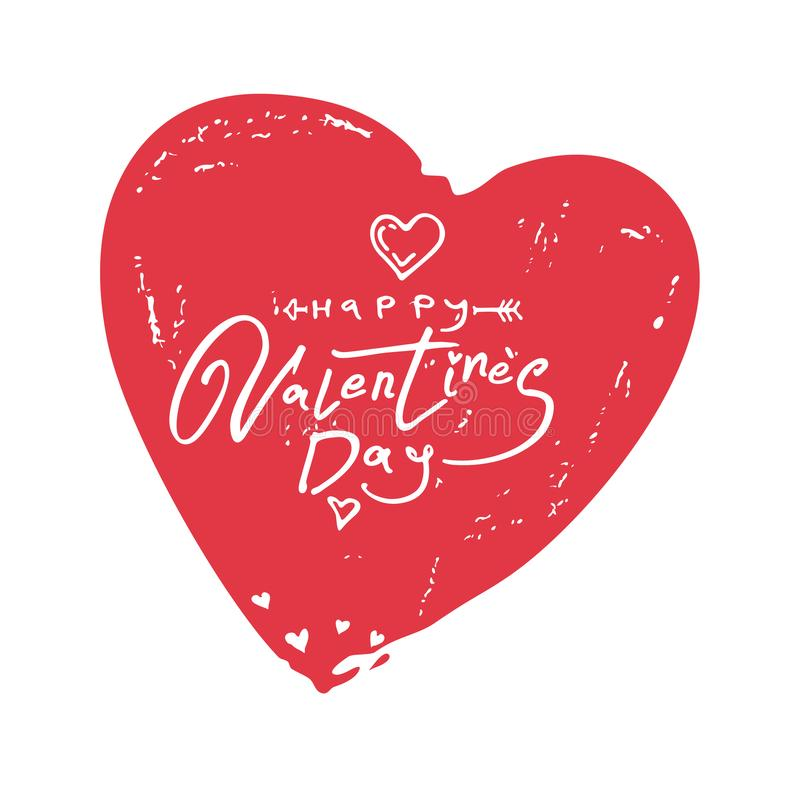 Happy Valentine`s Day. Vintage big heart with handwritten scratched inscription vector illustration