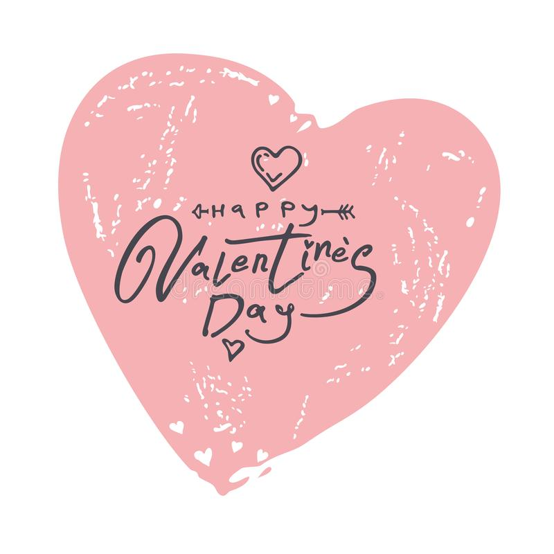 Happy Valentine`s Day. Vintage big heart with handwritten scribble inscription royalty free illustration