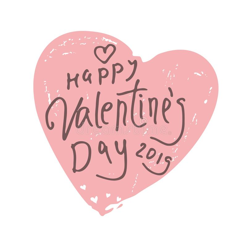 Happy Valentine`s Day 2019. Vintage big heart with handwritten scribble inscription royalty free illustration