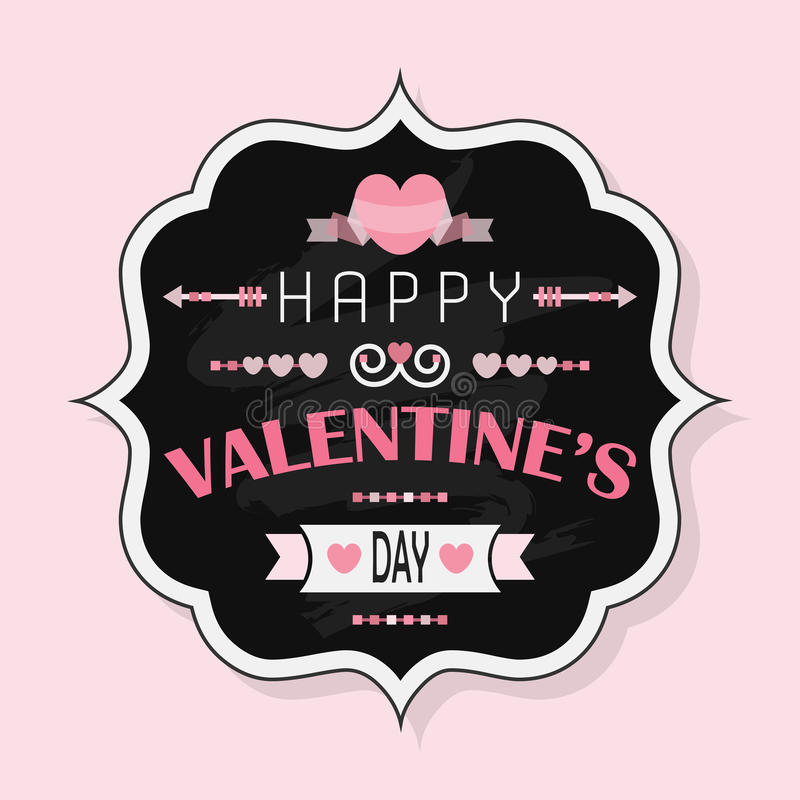 Happy Valentine's Day - Vintage chalk badge on pink background vector illustration