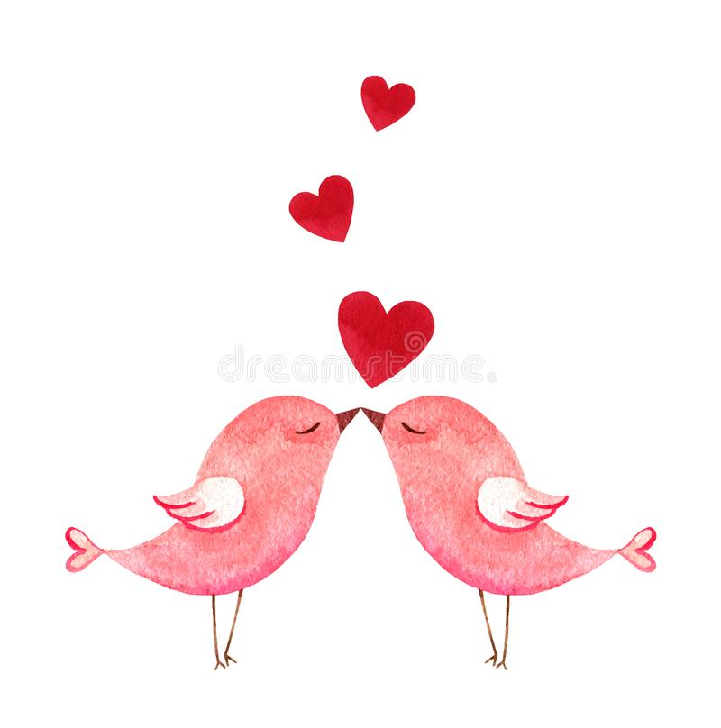 Happy Valentine`s day watercolor vector illustration. Happy Valentine`s day. Watercolor vector card with two pink birds and hearts isolated on white background royalty free illustration