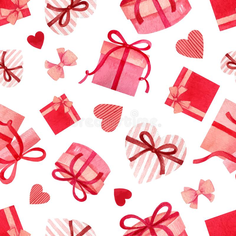 Happy Valentine`s day watercolor vector seamless pattern. Happy Valentine`s day. Watercolor vector seamless pattern with gifts and hearts isolated on white royalty free illustration