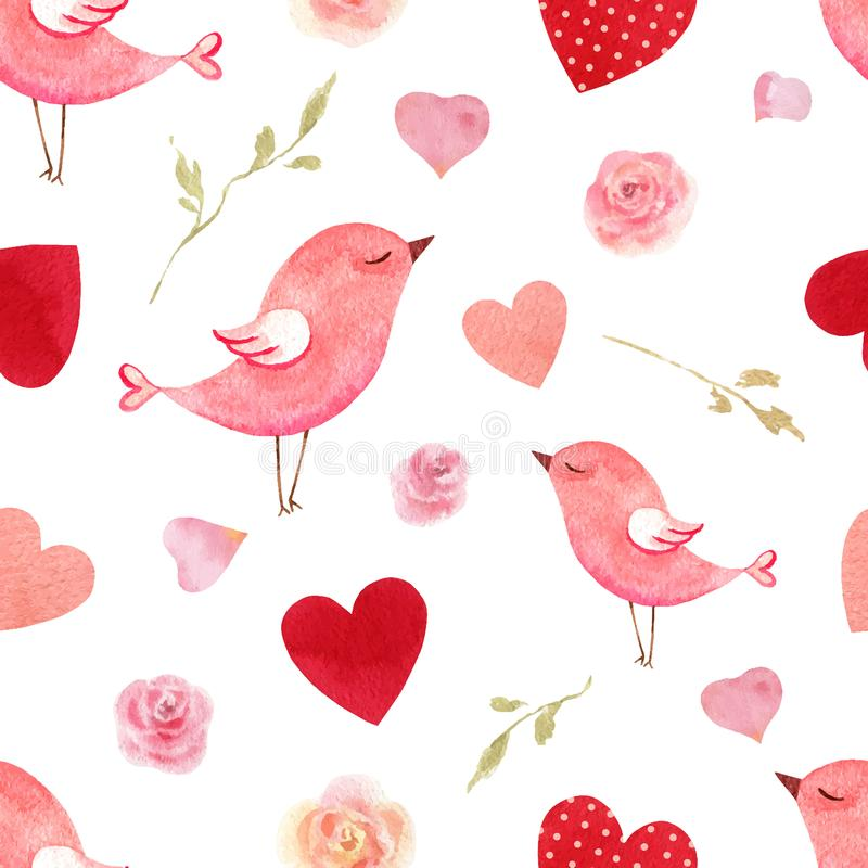 Happy Valentine`s day watercolor vector seamless pattern. Happy Valentine`s day. Watercolor vector seamless pattern with pink birds and hearts isolated on white royalty free illustration
