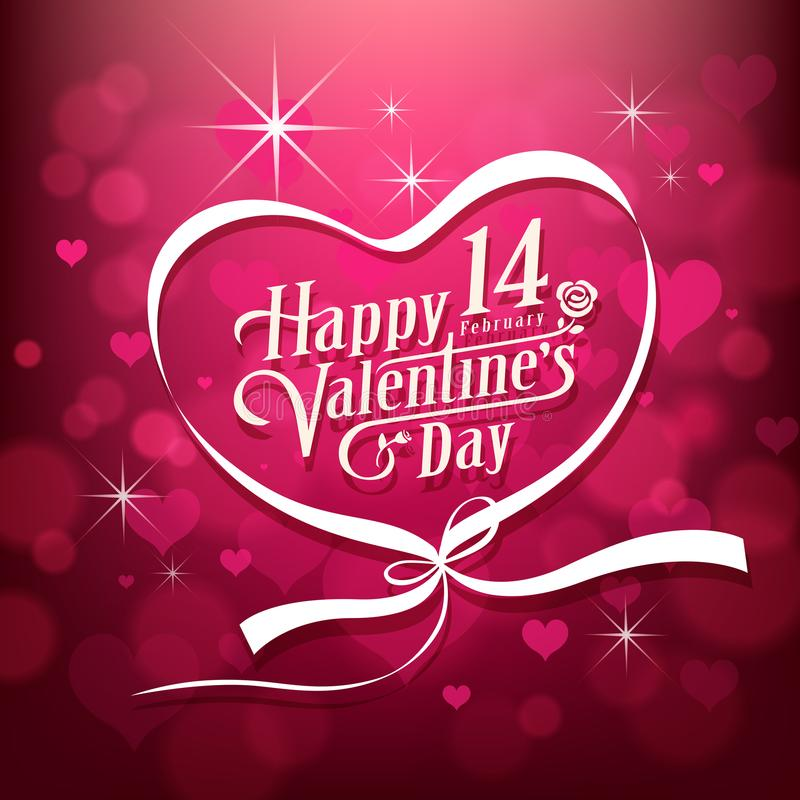 Happy Valentine`s day white message design on pink background. Vector illustration stock illustration