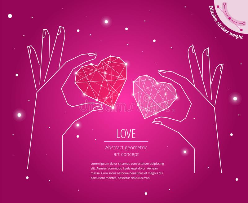 The Happy Valentine`s Day wishes geometric art concept. Greeting card layout template. The love men and women symbol drawn with editable strokes weight. A vector illustration