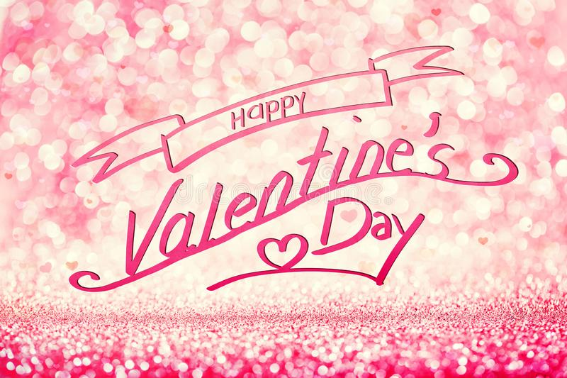 HAPPY VALENTINE`S DAY writing on glittery pink background royalty free stock images