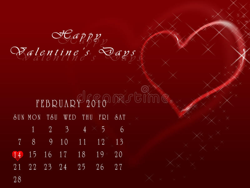 Happy Valentine's Days. Calendar of the month of February in which the day is signalled 14 with the heart in memory of the festivity of San Valentino vector illustration