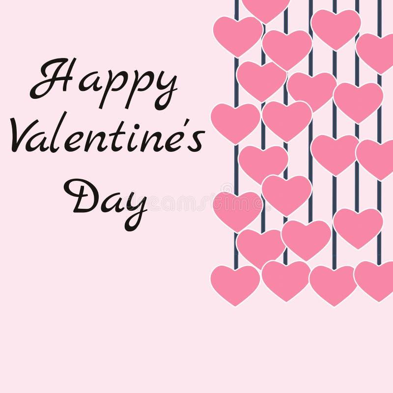 Happy valentine's dzień życzy sobie karty na abstrakcyjnym różowym tle, ilustracja graficzna ilustracji