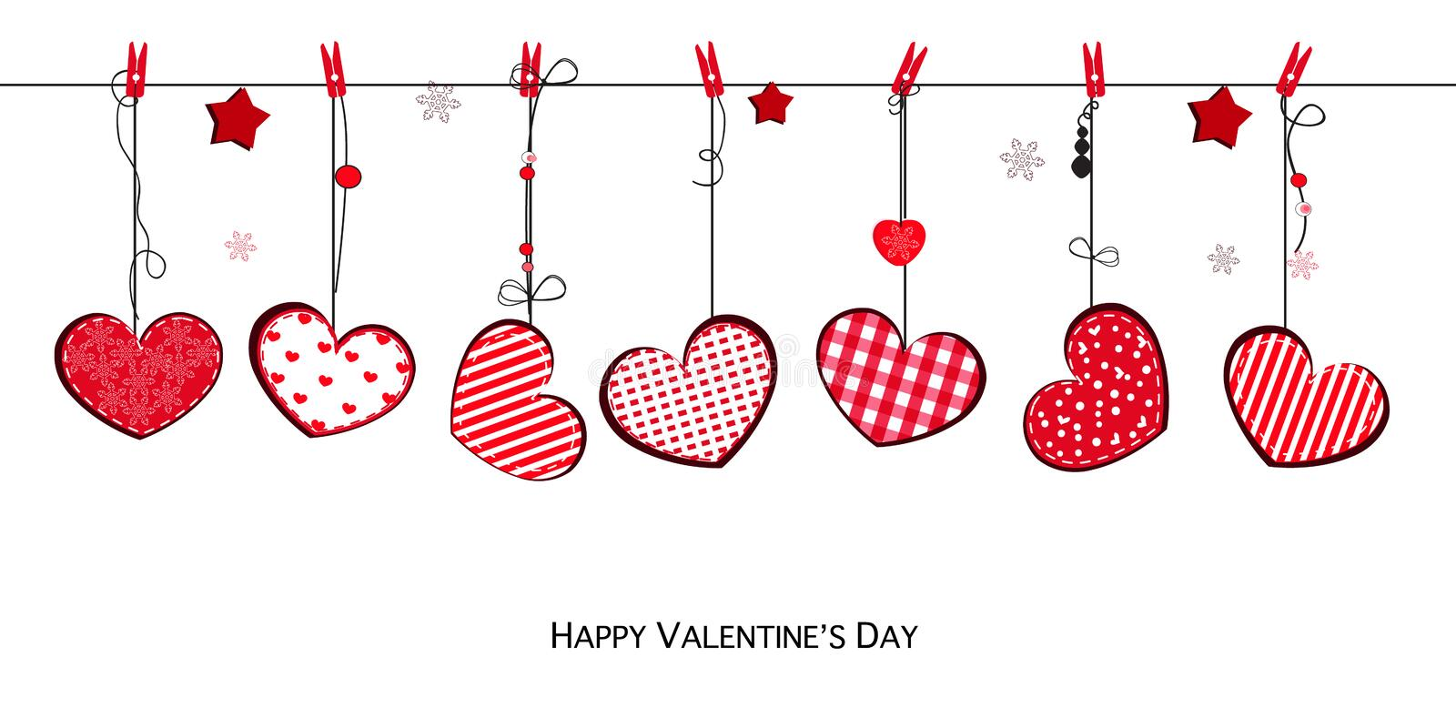 Happy Valentine`s greeting card with hanging hearts stock illustration