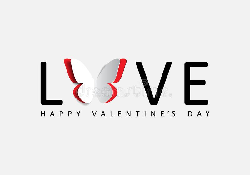 Happy Valentine`s greeting card with paper origami butterfly. Happy Valentine`s greeting card with word love and paper origami butterfly royalty free illustration