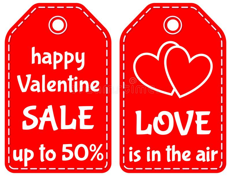 Happy valentine sale up to 50 love is in the air tag set. Happy valentine sale up to 50 love is in the air red tag set isolated on white background. Vector royalty free illustration