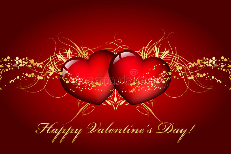 Happy Valentines Day. Card with hearts