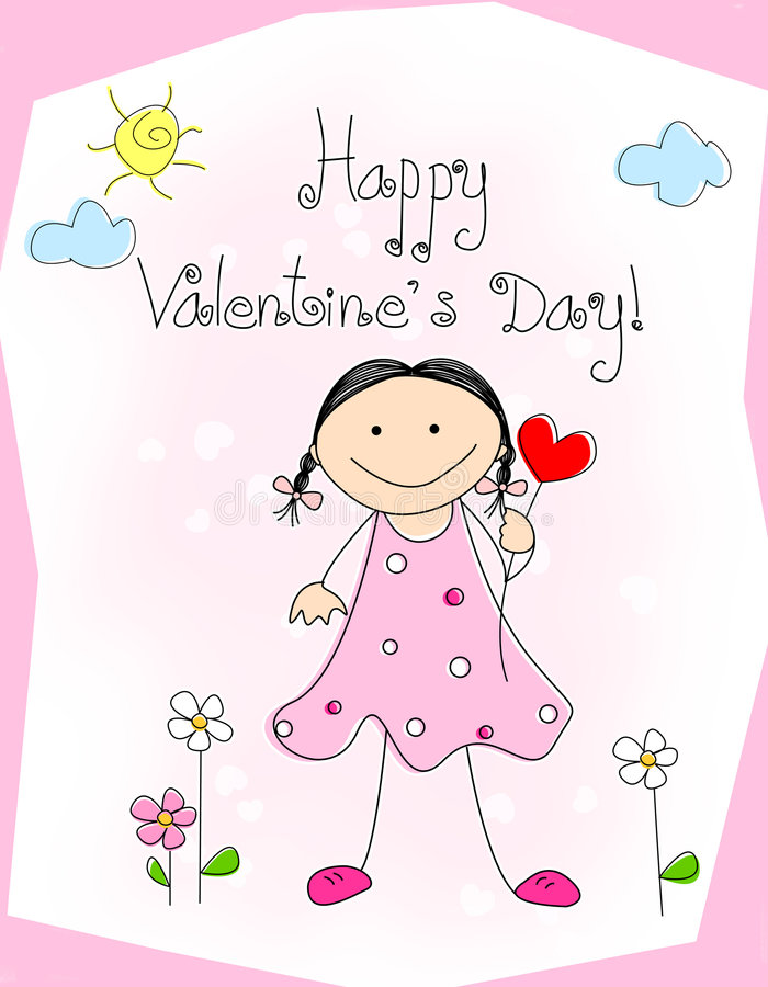 Download Happy valentines day stock vector. Image of girly, cute - 7786278