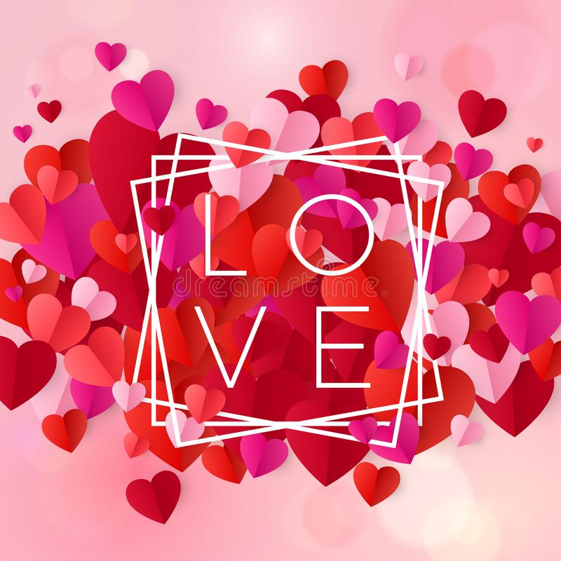 Free Happy Valentines Day And Wedding Design Elements. Text Design Love In White Frame On Pink Background With Hearts. Vector Stock Photography - 135972912