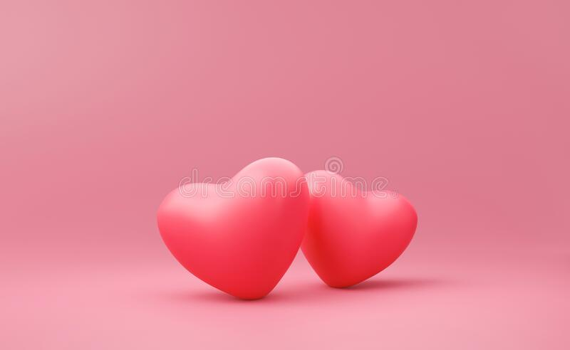 Happy Valentines day background with couple of love concept. Romantic red heart on pink backdrops. 3D rendering.  royalty free illustration
