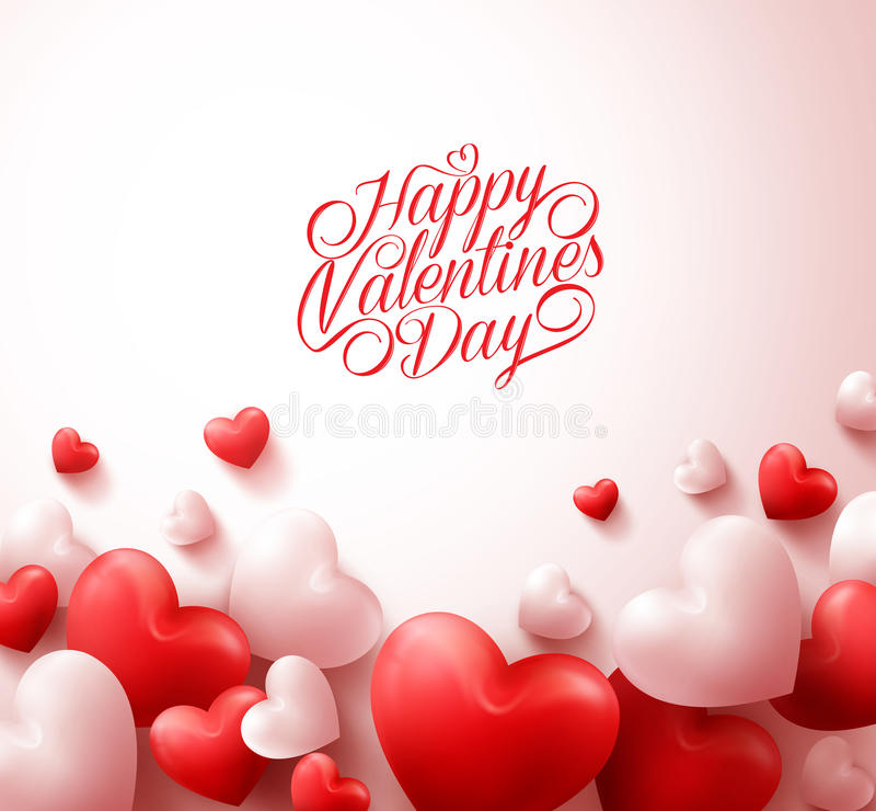 Happy Valentines Day Background with 3D Realistic Red Hearts. And Typography Text in White Background. Vector Illustration royalty free illustration