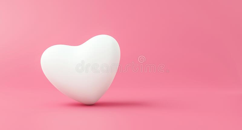 Happy Valentines day background with love concept. Romantic of pure white heart on pink backdrops. 3D rendering.  vector illustration