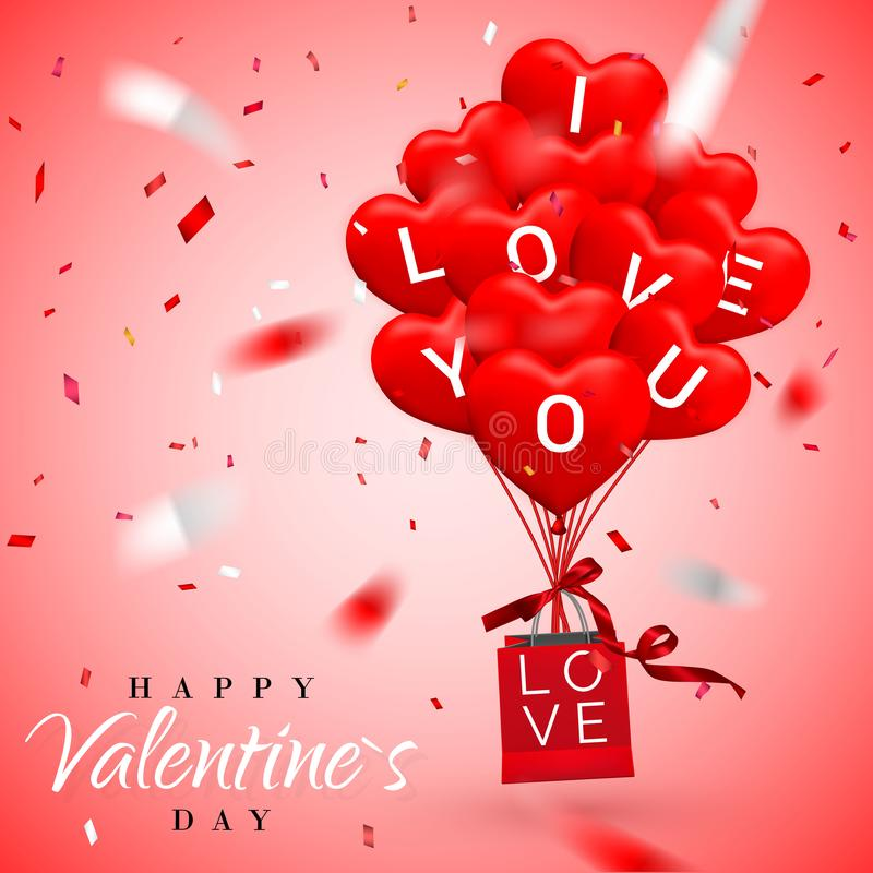 Happy Valentines Day background, red balloon in form of heart with bow and ribbon and Paper shopping bag. Vector illustration.  stock illustration